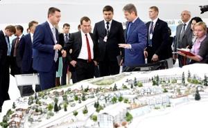 Дмитрий Медведев и Александр Ткачев присутствовали на осмотре экспозиции Краснодарского края