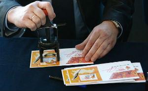 В Медиацентре Сочи провели церемонию гашения Олимпийских марок